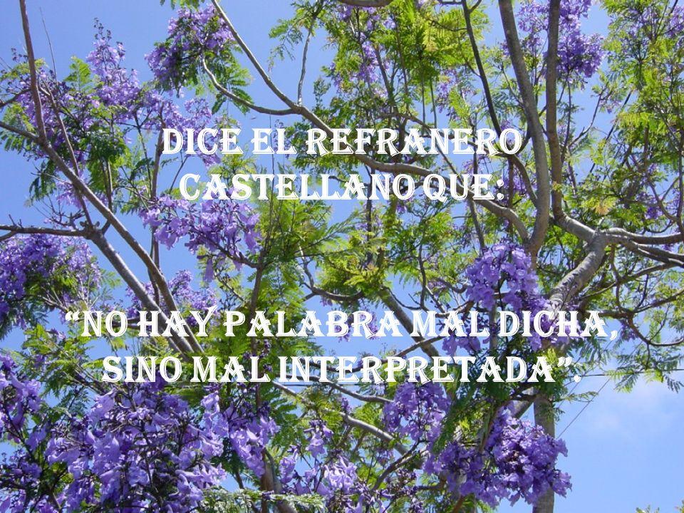 Dice el refranero castellano que: No hay palabra mal dicha, sino mal interpretada .