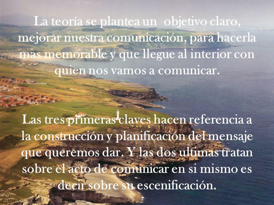 La teoría se plantea un objetivo claro, mejorar nuestra comunicación, para hacerla mas memorable y que llegue al interior con quien nos vamos a comunicar.