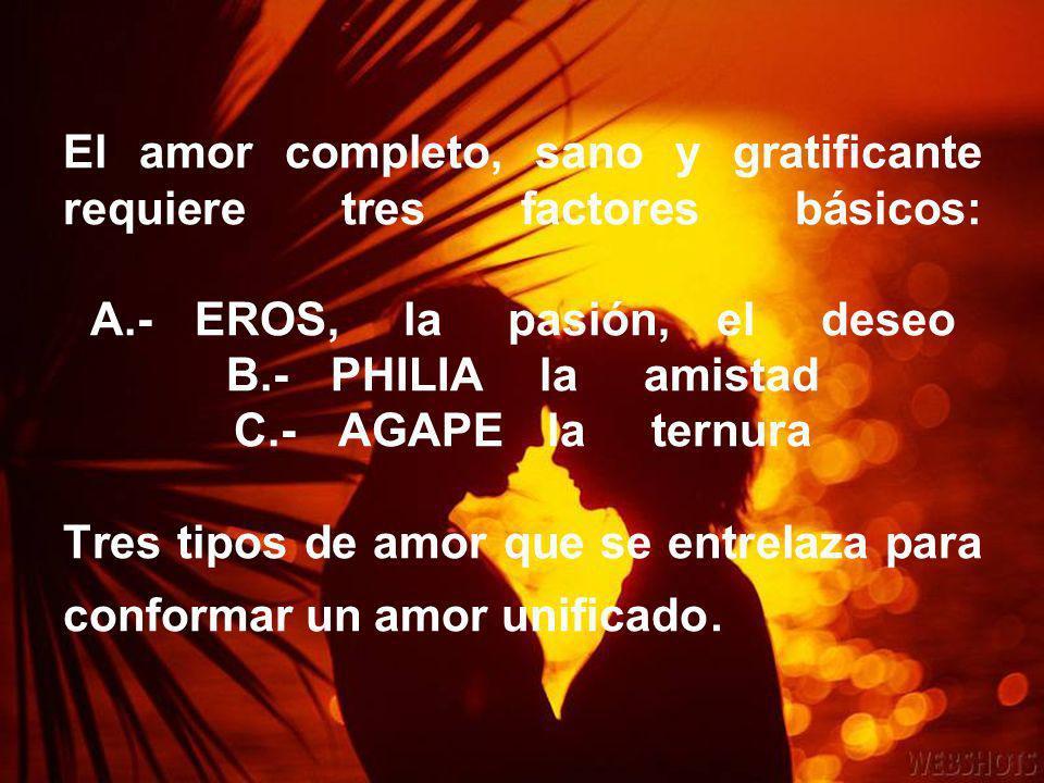 El amor completo, sano y gratificante requiere tres factores básicos: A.- EROS, la pasión, el deseo B.- PHILIA la amistad C.- AGAPE la ternura Tres tipos de amor que se entrelaza para conformar un amor unificado.