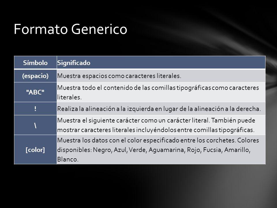 Formato Generico Símbolo Significado (espacio)