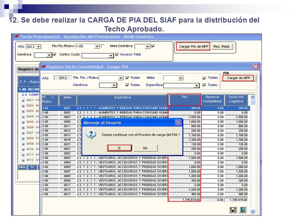 12. Se debe realizar la CARGA DE PIA DEL SIAF para la distribución del Techo Aprobado.
