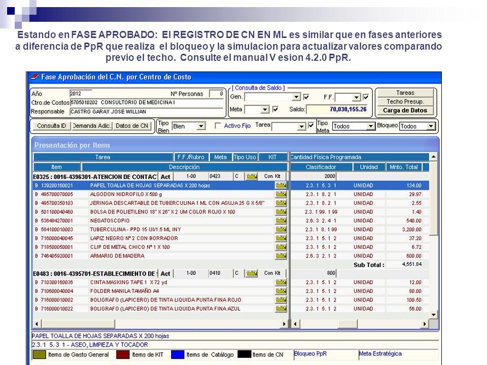 Estando en FASE APROBADO: El REGISTRO DE CN EN ML es similar que en fases anteriores a diferencia de PpR que realiza el bloqueo y la simulacion para actualizar valores comparando previo el techo.