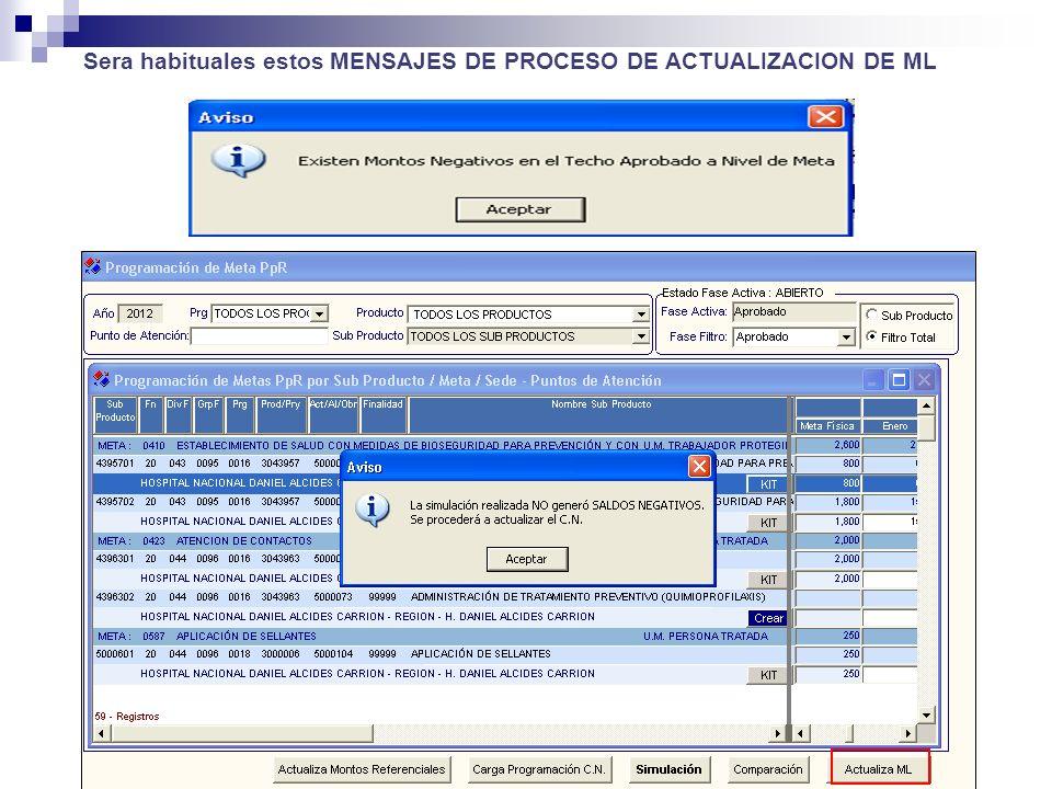 Sera habituales estos MENSAJES DE PROCESO DE ACTUALIZACION DE ML