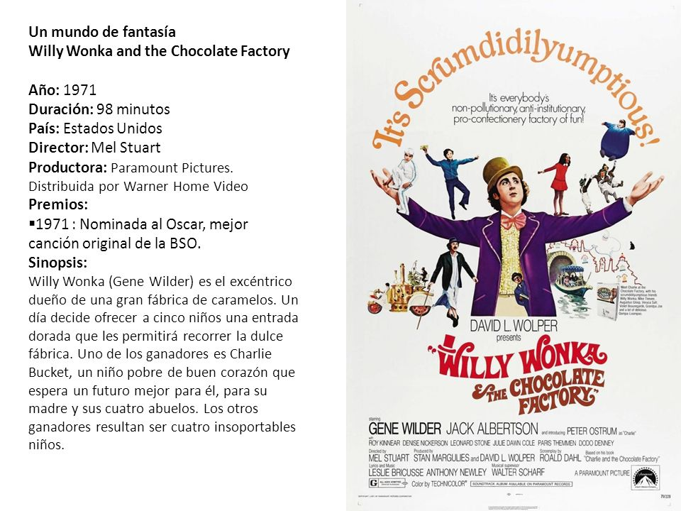 Un mundo de fantasía Willy Wonka and the Chocolate Factory. Año: 1971. Duración: 98 minutos. País: Estados Unidos.