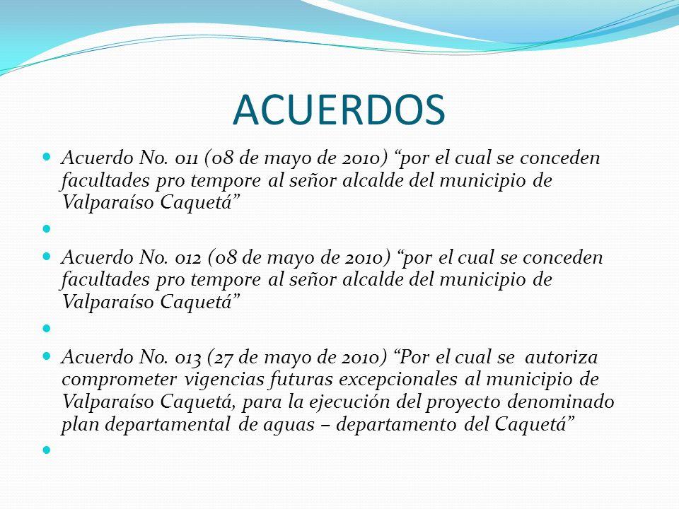 ACUERDOS Acuerdo No. 011 (08 de mayo de 2010) por el cual se conceden facultades pro tempore al señor alcalde del municipio de Valparaíso Caquetá