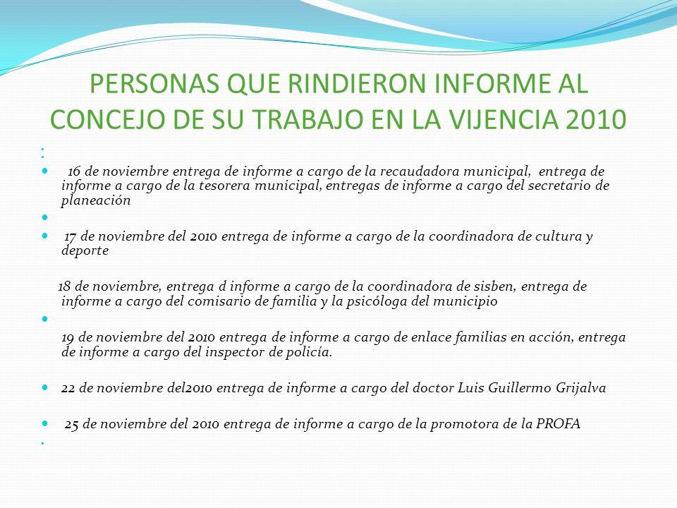 PERSONAS QUE RINDIERON INFORME AL CONCEJO DE SU TRABAJO EN LA VIJENCIA 2010