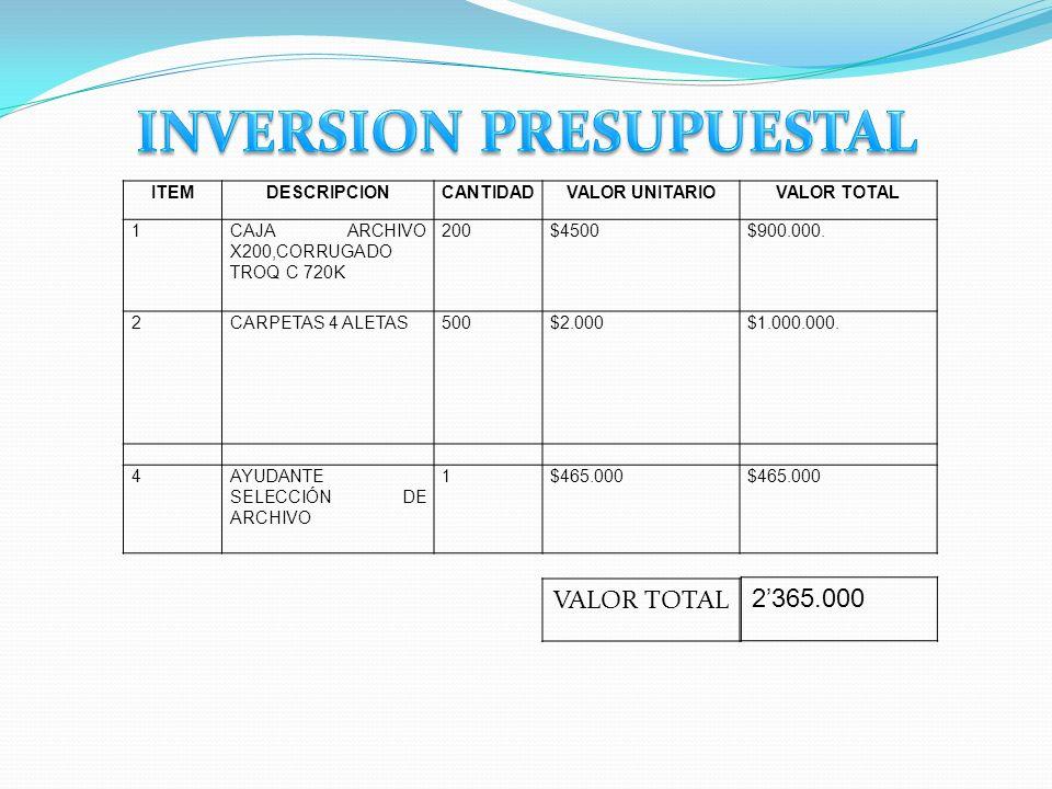 INVERSION PRESUPUESTAL