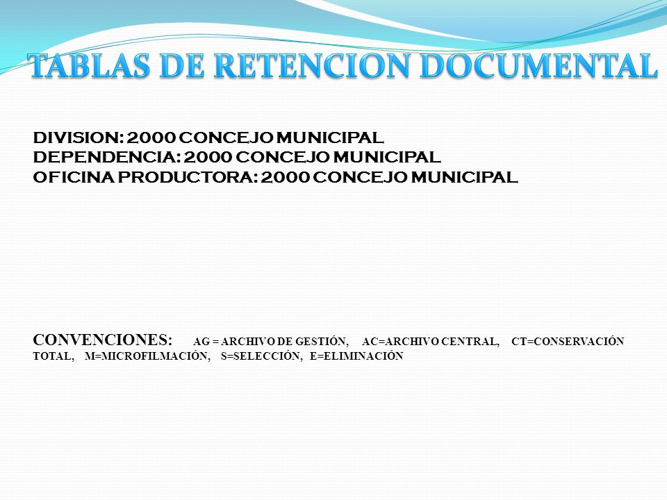 TABLAS DE RETENCION DOCUMENTAL