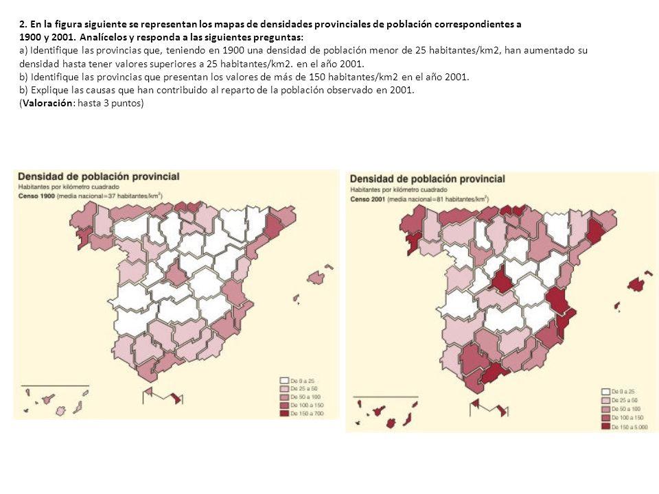 2. En la figura siguiente se representan los mapas de densidades provinciales de población correspondientes a