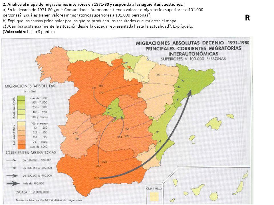 2. Analice el mapa de migraciones interiores en 1971-80 y responda a las siguientes cuestiones: