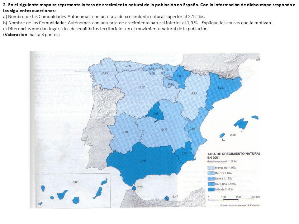 2. En el siguiente mapa se representa la tasa de crecimiento natural de la población en España. Con la información de dicho mapa responda a las siguientes cuestiones: