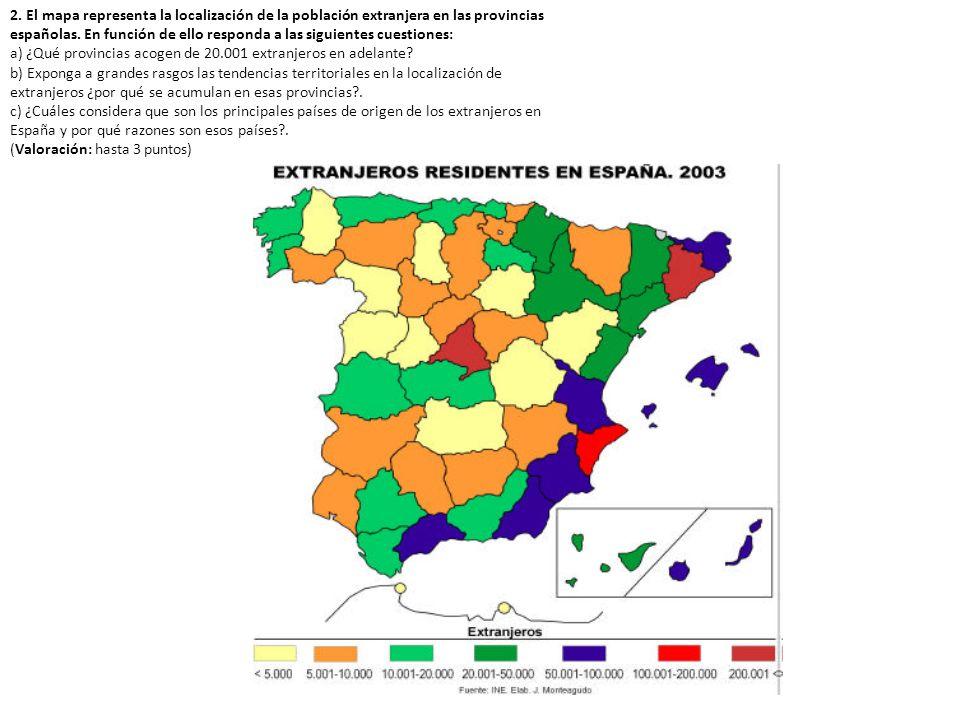 2. El mapa representa la localización de la población extranjera en las provincias