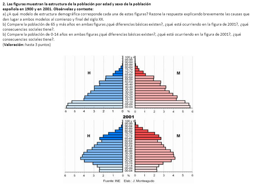 2. Las figuras muestran la estructura de la población por edad y sexo de la población