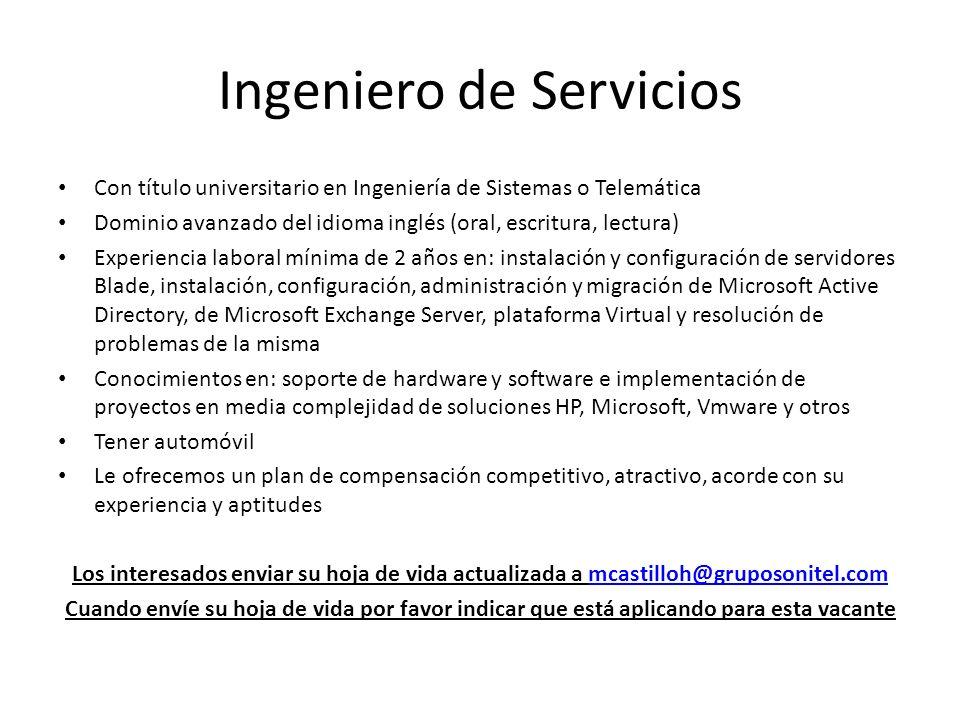 Ingeniero de Servicios