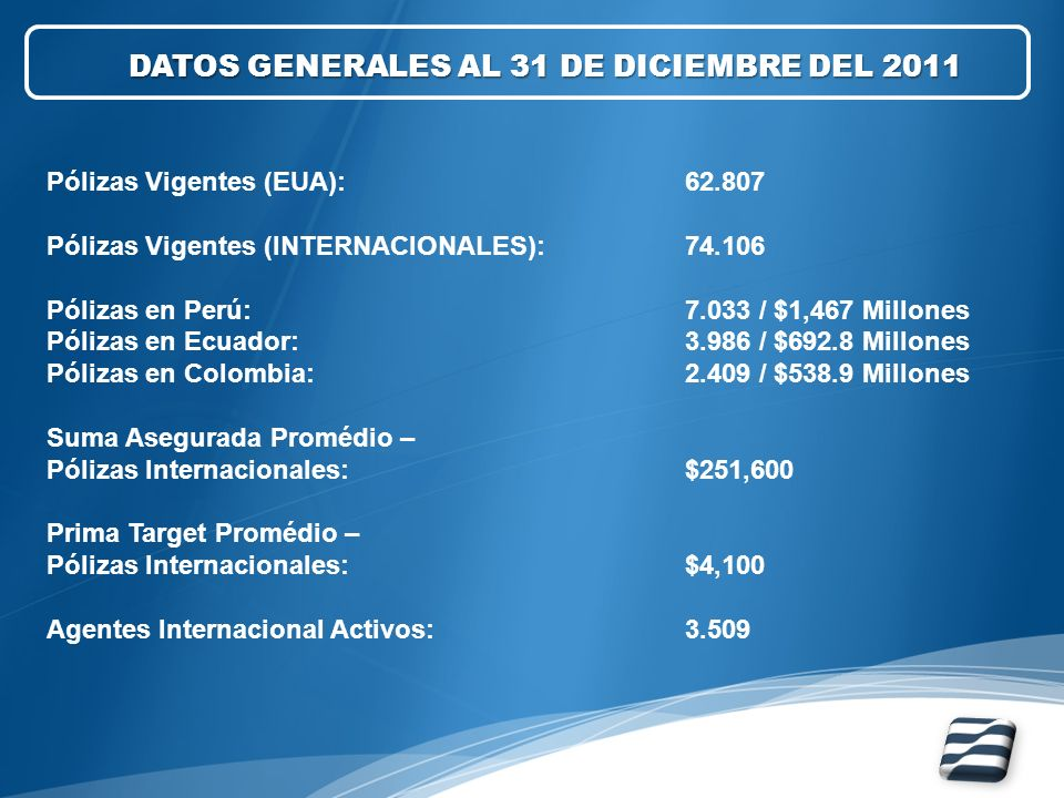 DATOS GENERALES AL 31 DE DICIEMBRE DEL 2011