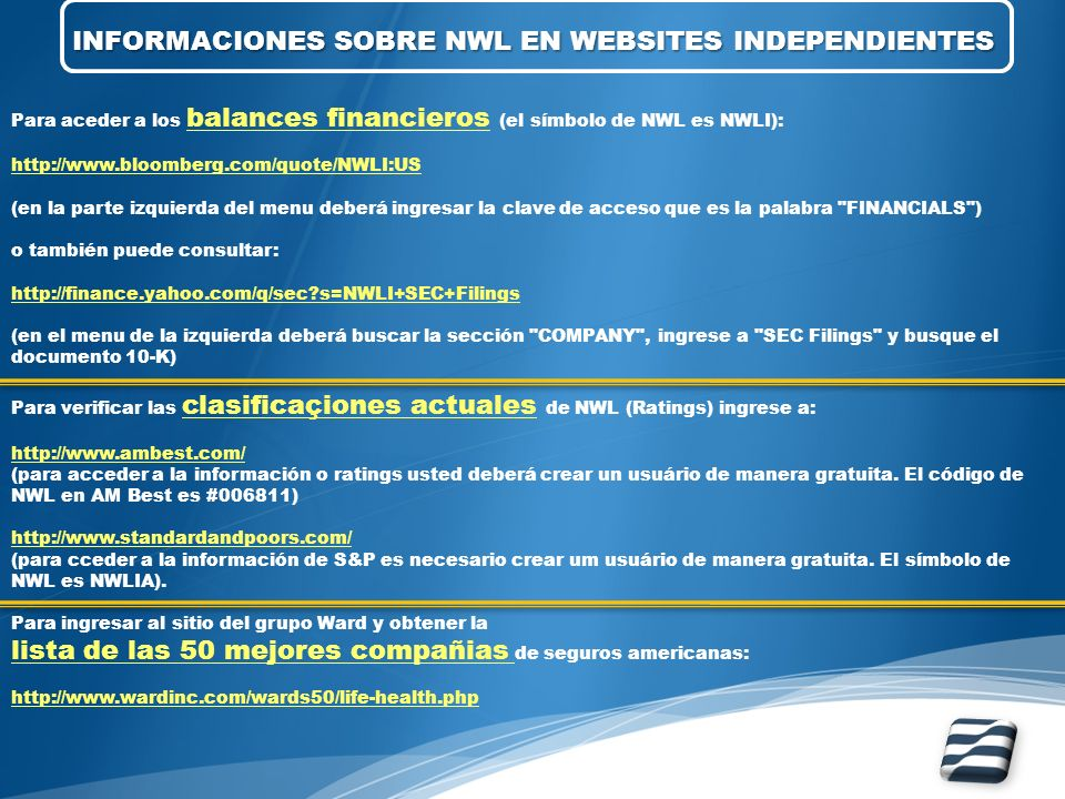 INFORMACIONES SOBRE NWL EN WEBSITES INDEPENDIENTES