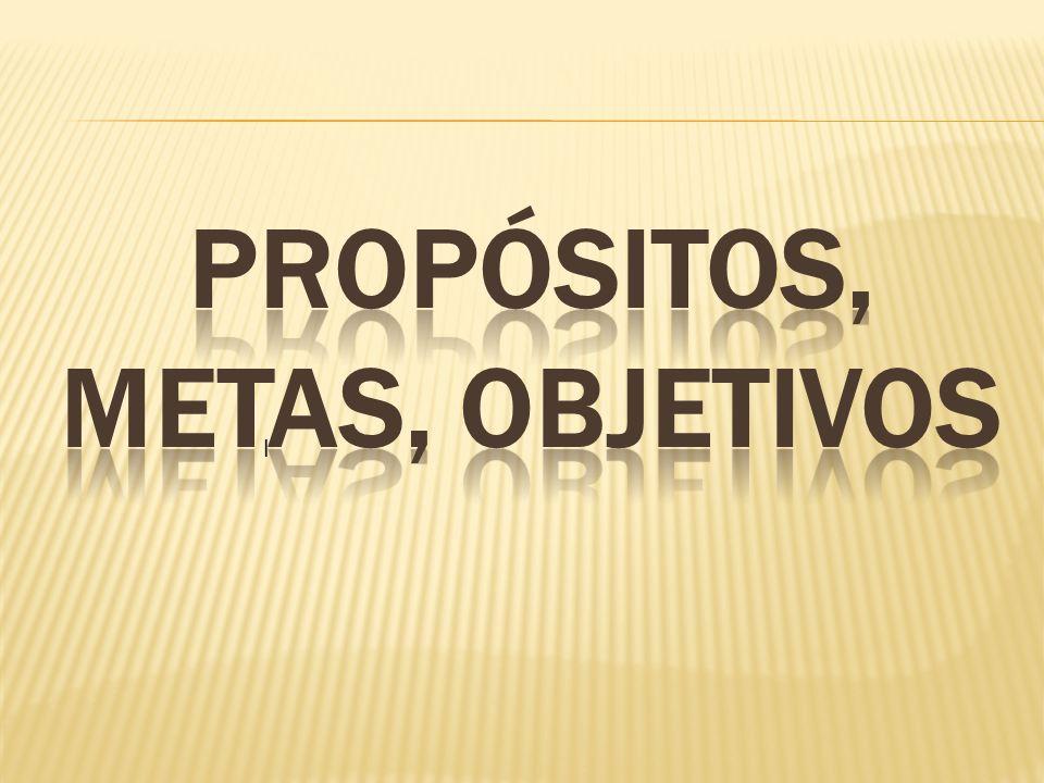 PROPÓSITOS, METAS, OBJETIVOS