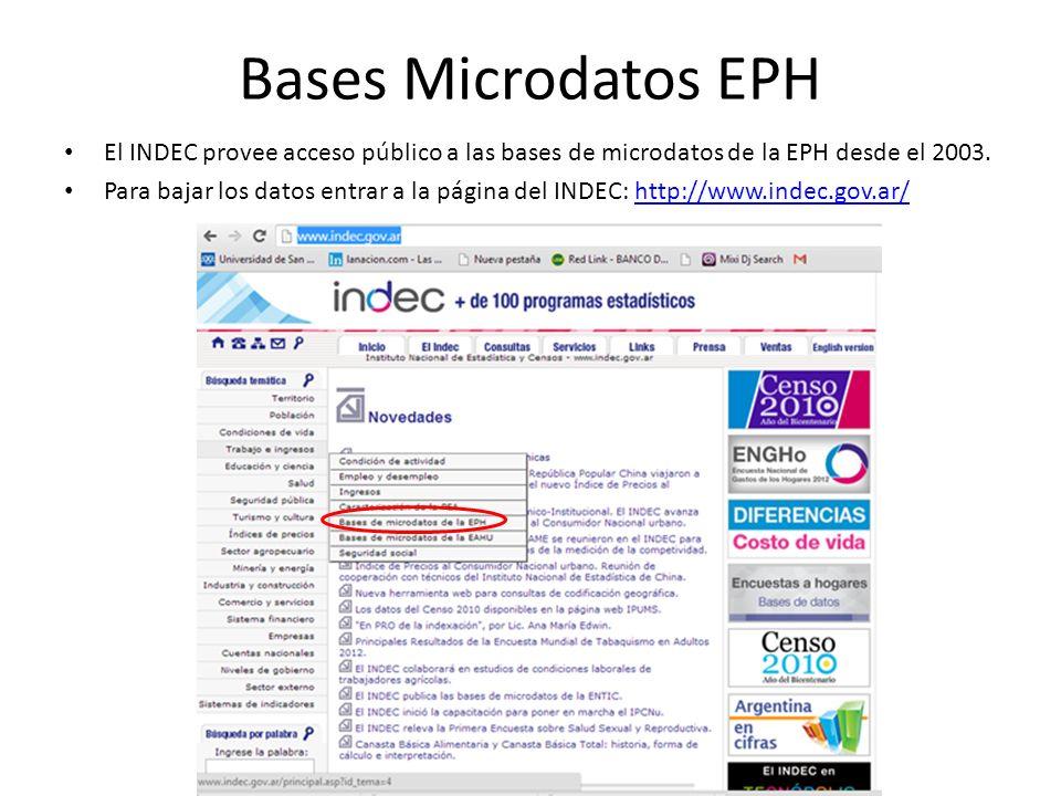Bases Microdatos EPH El INDEC provee acceso público a las bases de microdatos de la EPH desde el 2003.