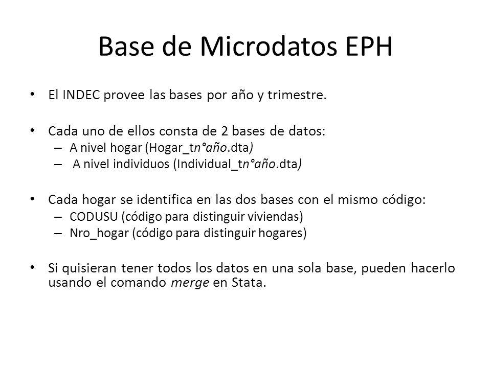 Base de Microdatos EPH El INDEC provee las bases por año y trimestre.