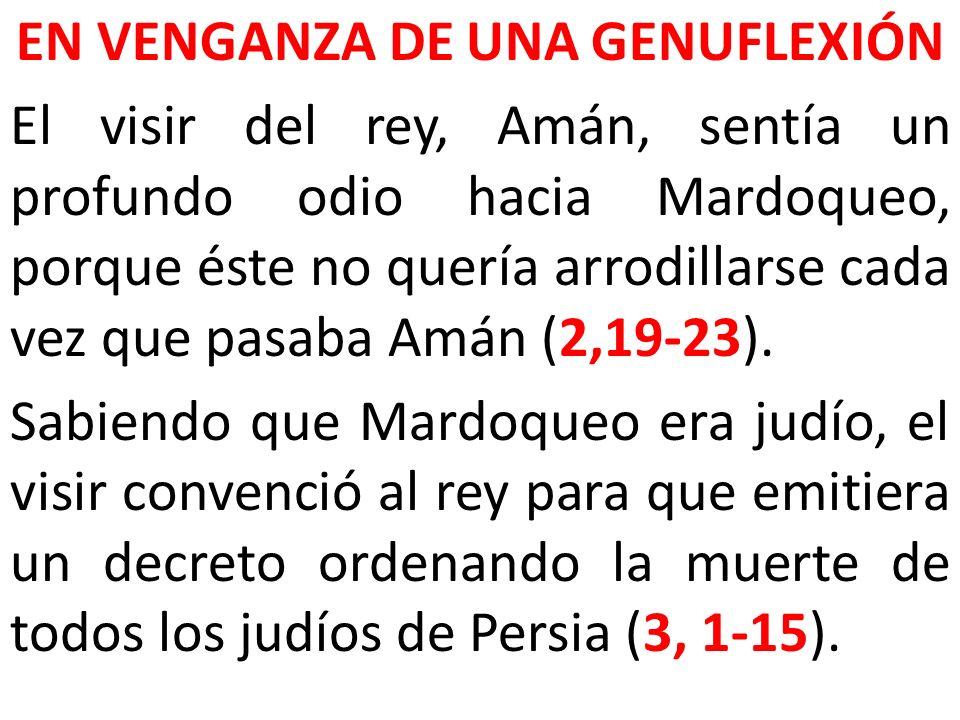 EN VENGANZA DE UNA GENUFLEXIÓN El visir del rey, Amán, sentía un profundo odio hacia Mardoqueo, porque éste no quería arrodillarse cada vez que pasaba Amán (2,19-23).
