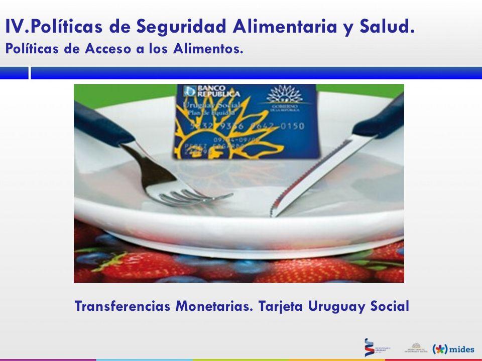 Transferencias Monetarias. Tarjeta Uruguay Social