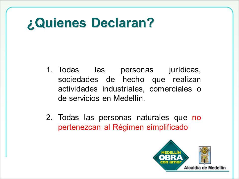 ¿Quienes Declaran Todas las personas jurídicas, sociedades de hecho que realizan actividades industriales, comerciales o de servicios en Medellín.