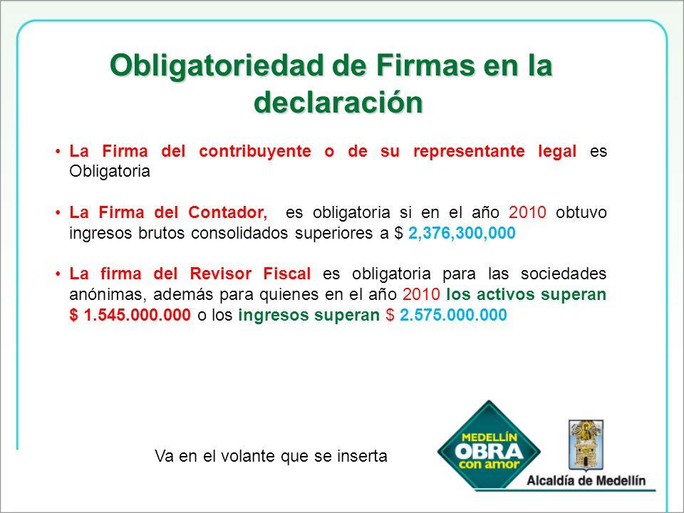 Obligatoriedad de Firmas en la declaración