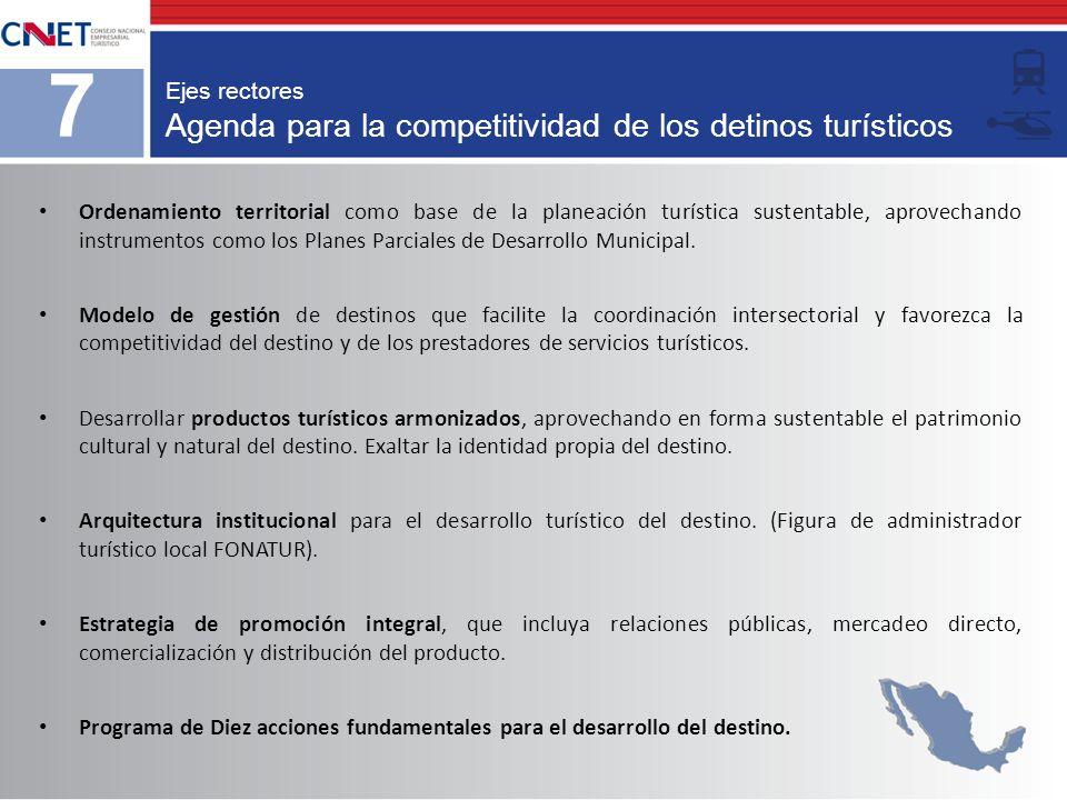 Agenda para la competitividad de los detinos turísticos
