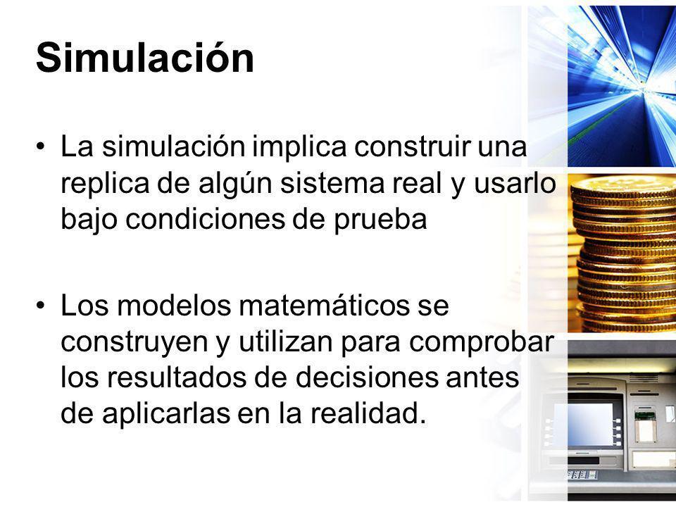 Simulación La simulación implica construir una replica de algún sistema real y usarlo bajo condiciones de prueba.