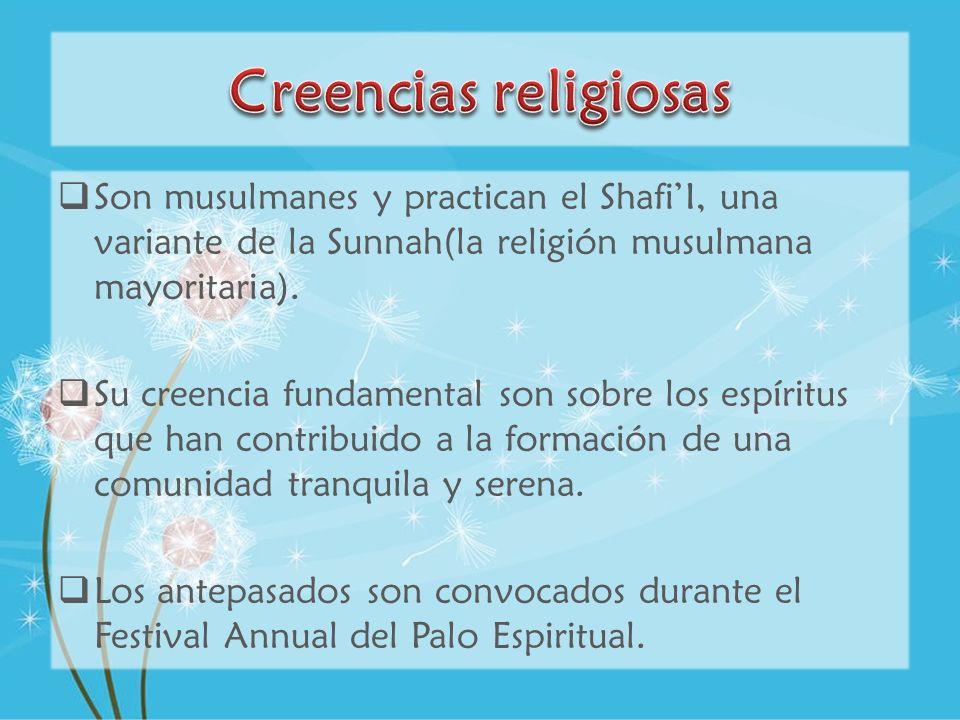 Creencias religiosas Son musulmanes y practican el Shafi'I, una variante de la Sunnah(la religión musulmana mayoritaria).