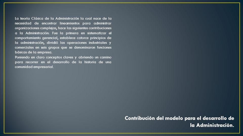 Contribución del modelo para el desarrollo de la Administración.
