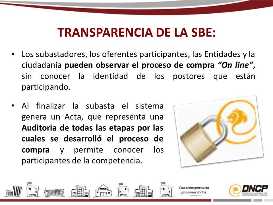 TRANSPARENCIA DE LA SBE: