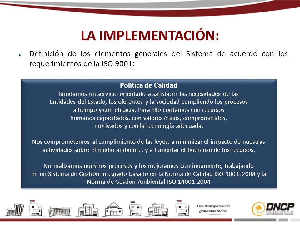 LA IMPLEMENTACIÓN: Definición de los elementos generales del Sistema de acuerdo con los requerimientos de la ISO 9001: