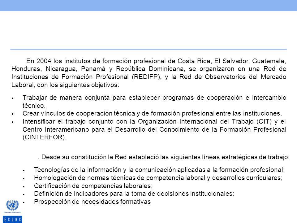 En 2004 los institutos de formación profesional de Costa Rica, El Salvador, Guatemala, Honduras, Nicaragua, Panamá y República Dominicana, se organizaron en una Red de Instituciones de Formación Profesional (REDIFP), y la Red de Observatorios del Mercado Laboral, con los siguientes objetivos: