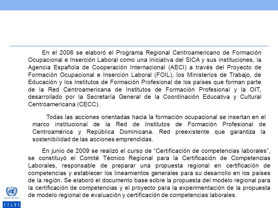 En el 2006 se elaboró el Programa Regional Centroamericano de Formación Ocupacional e Inserción Laboral como una iniciativa del SICA y sus instituciones, la Agencia Española de Cooperación Internacional (AECI) a través del Proyecto de Formación Ocupacional e Inserción Laboral (FOIL), los Ministerios de Trabajo, de Educación y los Institutos de Formación Profesional de los países que forman parte de la Red Centroamericana de Institutos de Formación Profesional y la OIT, desarrollado por la Secretaría General de la Coordinación Educativa y Cultural Centroamericana (CECC).