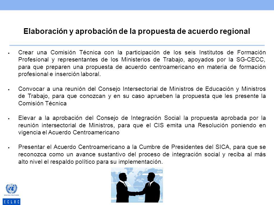 Elaboración y aprobación de la propuesta de acuerdo regional