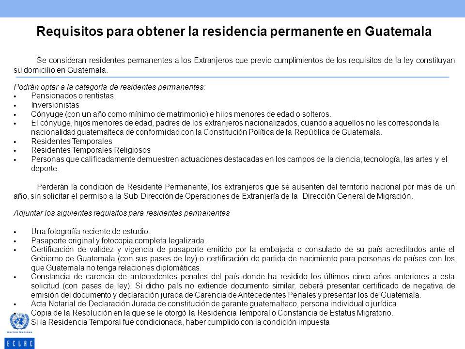 Requisitos para obtener la residencia permanente en Guatemala