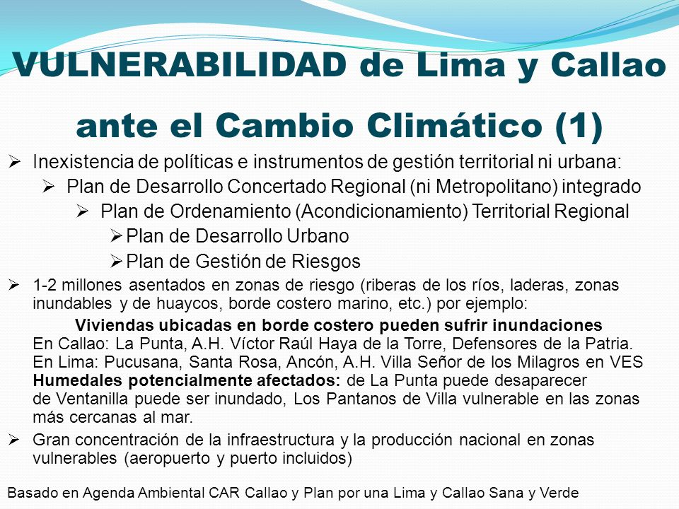VULNERABILIDAD de Lima y Callao ante el Cambio Climático (1)