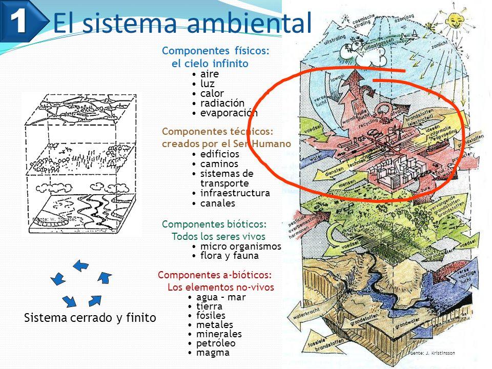 1 El sistema ambiental Sistema cerrado y finito Componentes físicos: