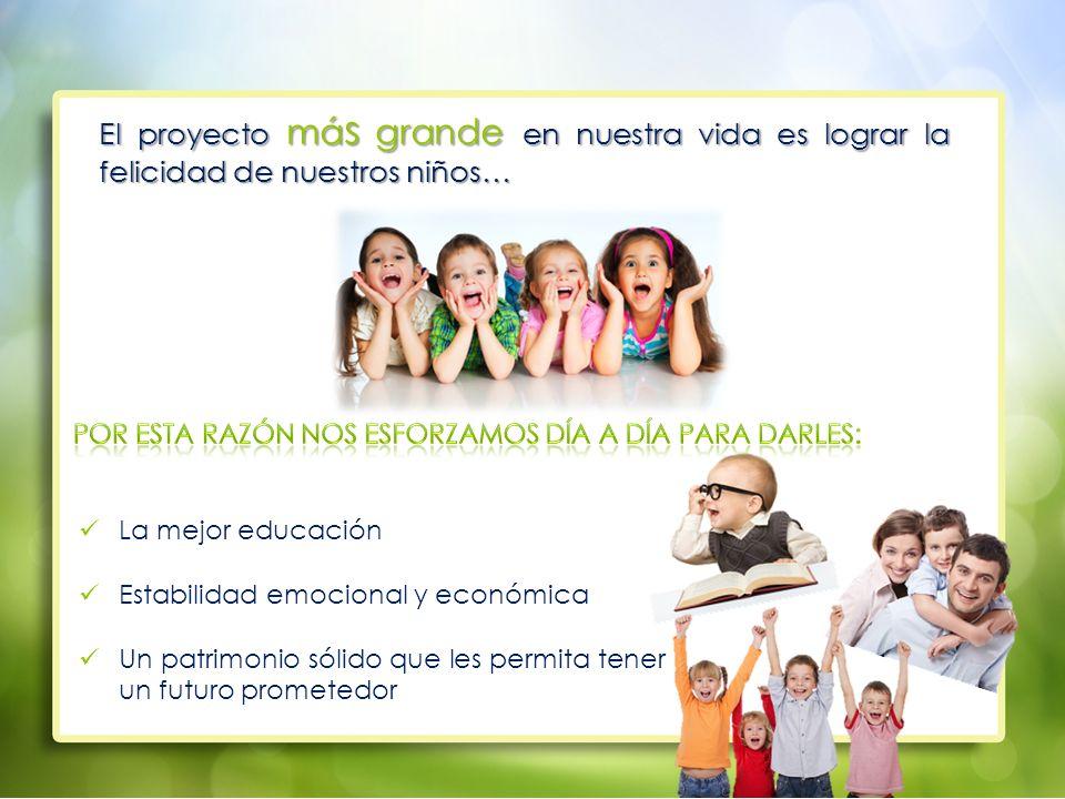 El proyecto más grande en nuestra vida es lograr la felicidad de nuestros niños…