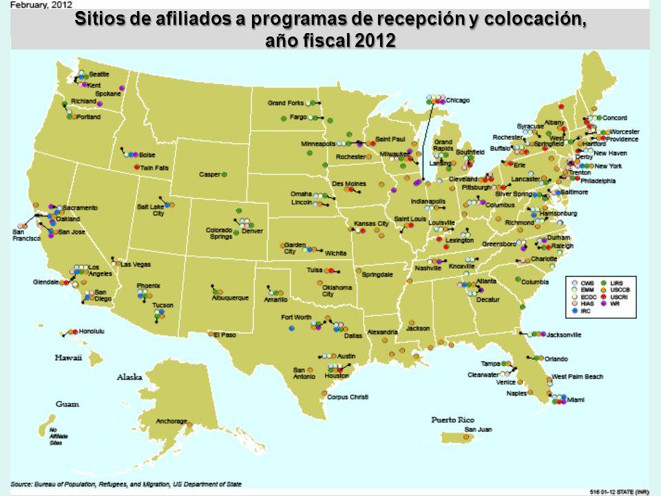 Sitios de afiliados a programas de recepción y colocación, año fiscal 2012