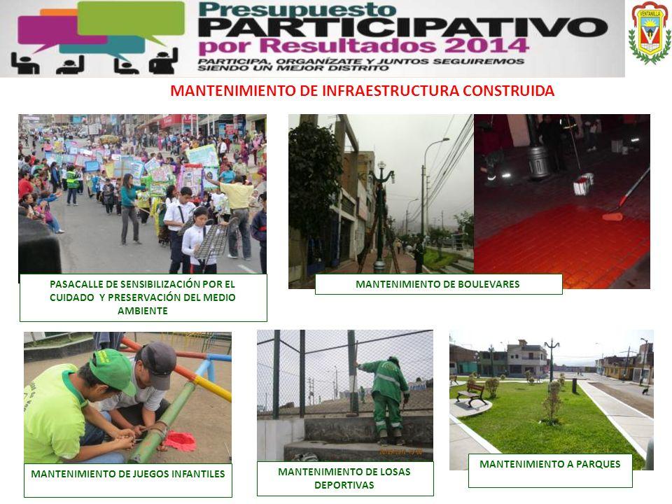 MANTENIMIENTO DE INFRAESTRUCTURA CONSTRUIDA