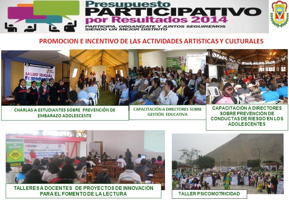 PROMOCION E INCENTIVO DE LAS ACTIVIDADES ARTISTICAS Y CULTURALES