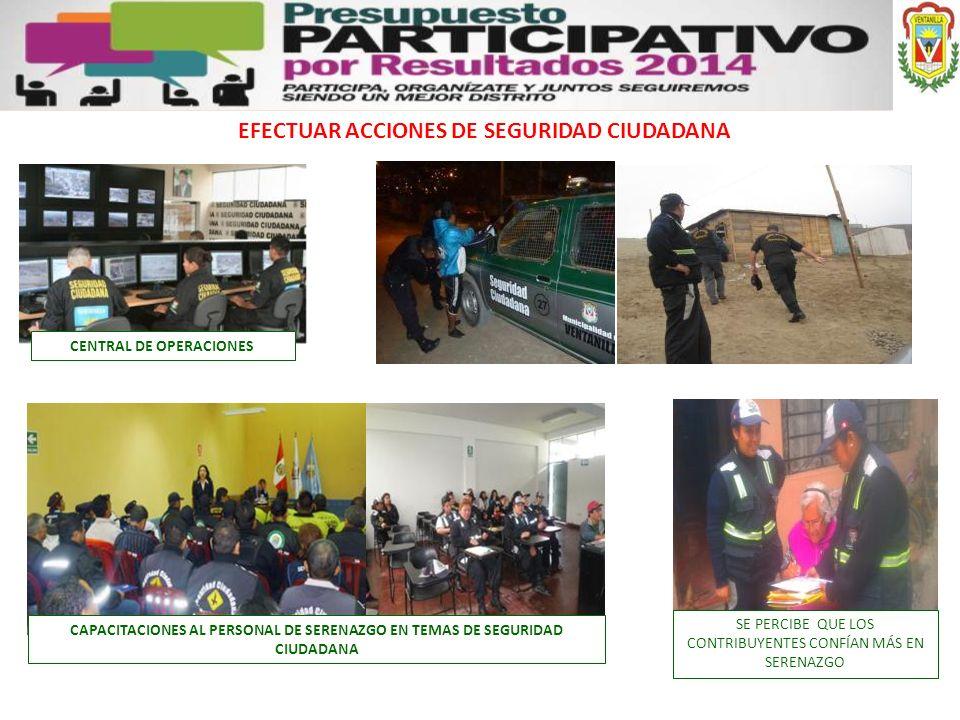EFECTUAR ACCIONES DE SEGURIDAD CIUDADANA CENTRAL DE OPERACIONES
