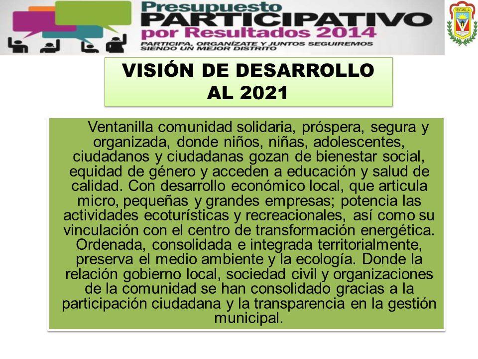 VISIÓN DE DESARROLLO AL 2021