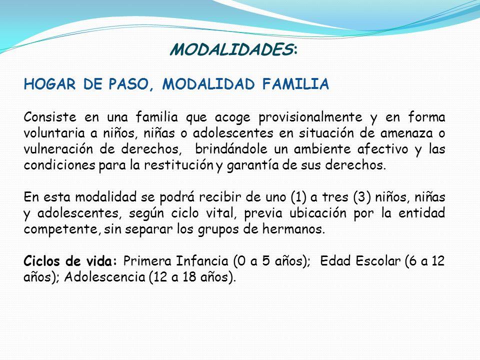 MODALIDADES: HOGAR DE PASO, MODALIDAD FAMILIA