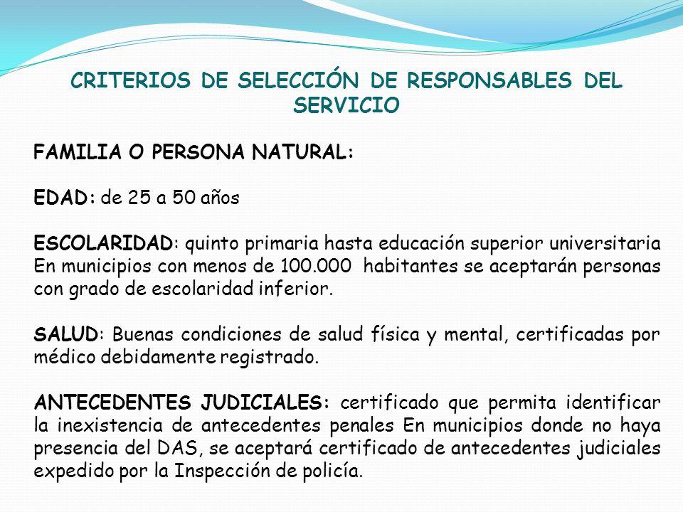 CRITERIOS DE SELECCIÓN DE RESPONSABLES DEL SERVICIO