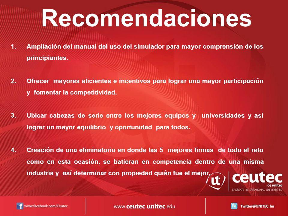 Recomendaciones Ampliación del manual del uso del simulador para mayor comprensión de los principiantes.