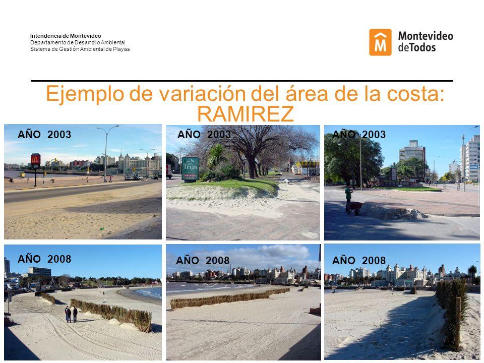 Ejemplo de variación del área de la costa: RAMIREZ