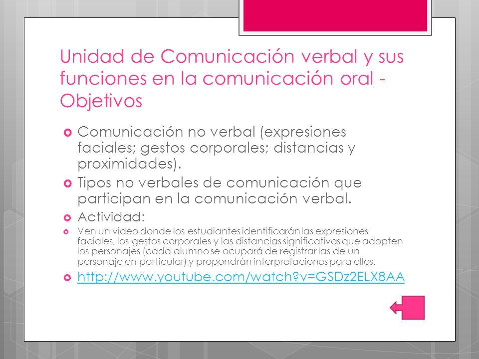 Unidad de Comunicación verbal y sus funciones en la comunicación oral - Objetivos